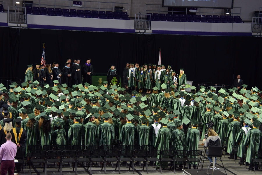 Wide view of graduation ceremony
